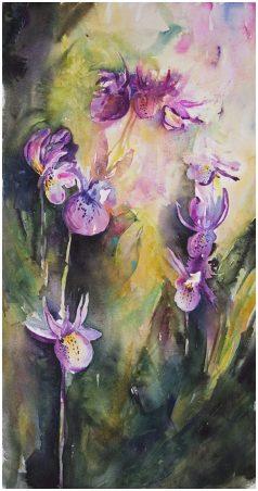 Doodlewash and watercolor sketch by Angela Fehr of purple flowers