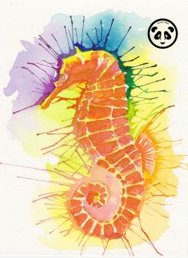 Doodlewash and watercolor sketch by Jeffrell Soliveres The Art Panda of seahorse