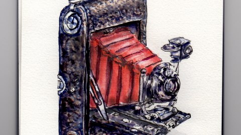 Day 11 #WordWatercolorMonth Vintage Camera Red and Black