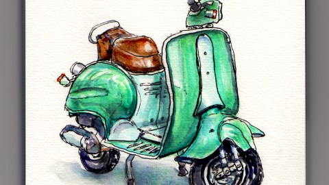 Day 12 #WorldWatercolorMonth Velocifero Scooter green blue