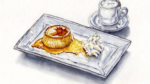 Day 13: #WorldWatercolorMonth Crème caramel cream and coffee