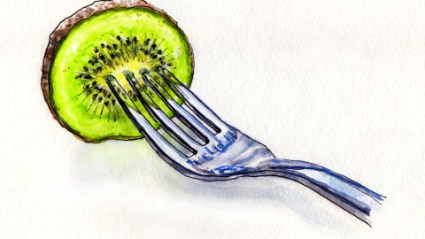 Day 17: #WorldWatercolorMonth Kiwi Slice on Fork