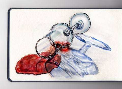 Day 2 #WorldWatercolorMonth Spilled Red Wine and Glass Reflections