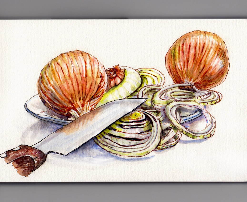 Day 20 #WorldWatercolorMonth Sliced onions on plate with knife