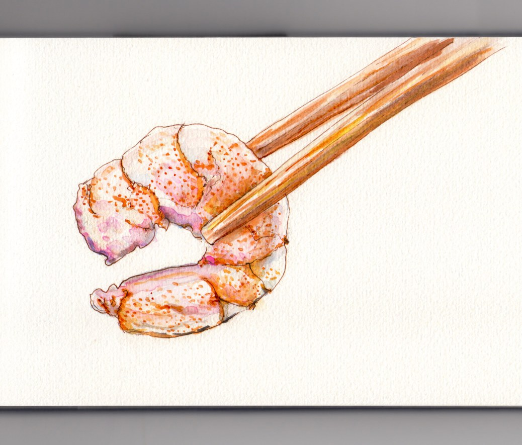 Day 23: #WorldWatercolorMonth Shrimp life size illustration with chopsticks