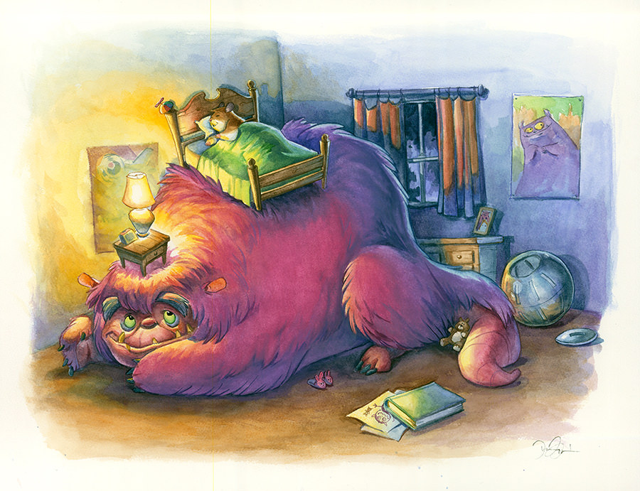 Doodlewash and Watercolor Sketch by Danny Beck of monster under the bed