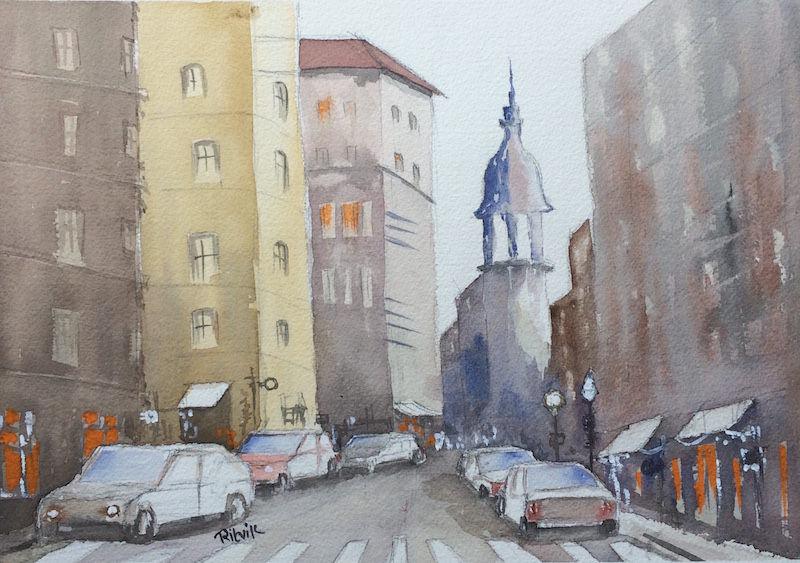 Doodlewash and watercolor sketch by Ritvik Sharma of city street