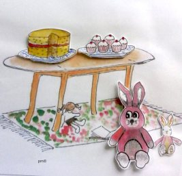 Doodlewash and watercolor painting by Marches Country Lady of bunny cutouts and table with cakes