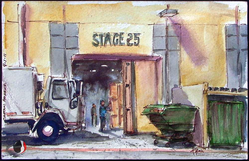 Doodlewash and watercolor sketch by Keni Arts of hollywood backlot Captain America