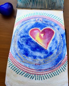 White Nights Watercolours heart mandala by jessica seacrest in a petalic watercolor journal