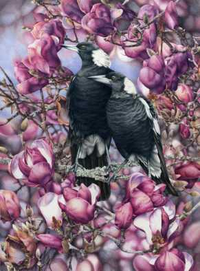 Doodlewash - watercolor painting illustration by Heidi Willis of Magpies in Magnolias