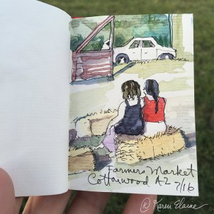 Doodlewash - Nanosketch by Karen Elaine Parsons of girls at farmer's market