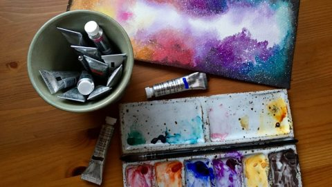 Winsor & Newton watercolor nebula painting by jessica seacrest