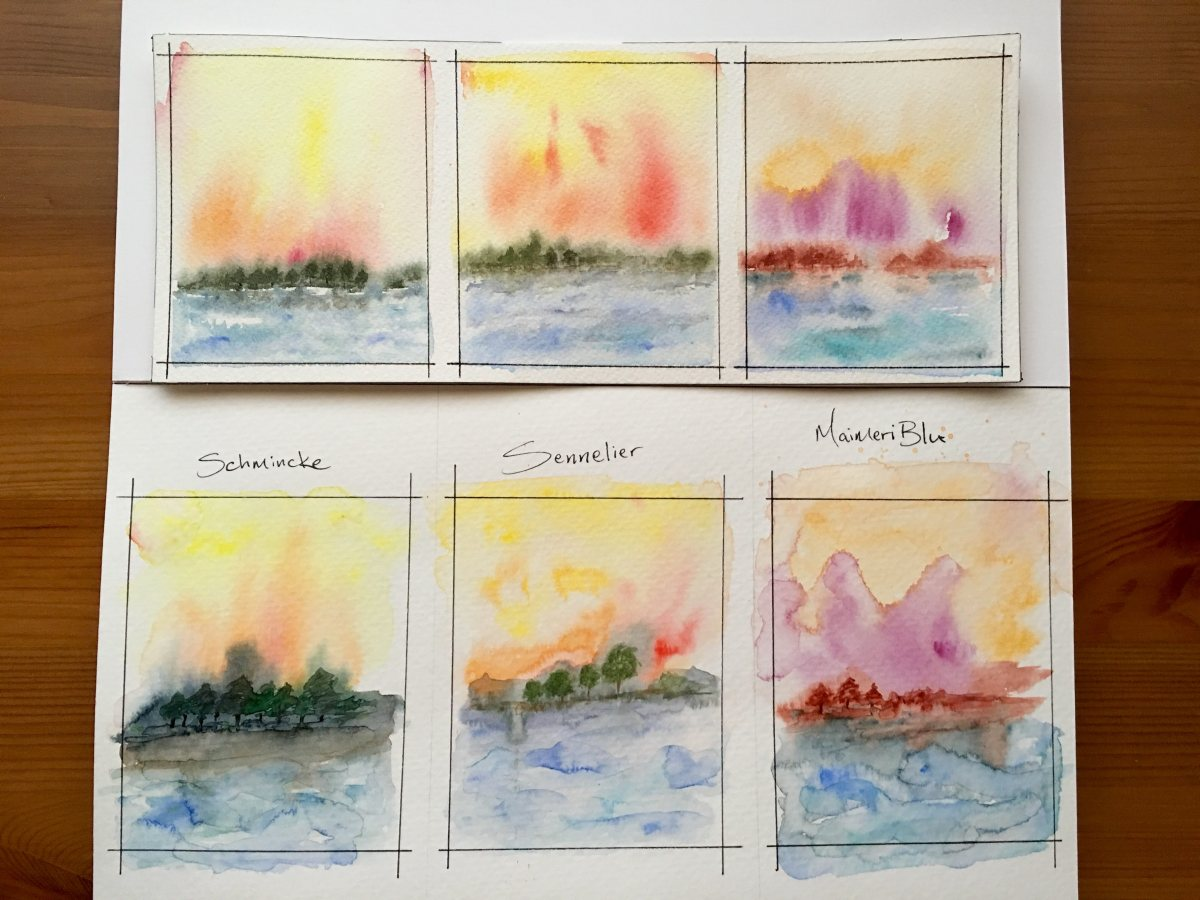 Schmincke, Sennelier, MaimeriBlu watercolor painting samples on Arches watercolour paper and strathmore 400 series watercolor paper