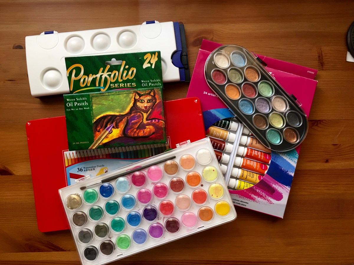 Pelikan watercolours, faber-castel watercolor pencils, reeves gouache, artist loft watercolors, crayola oil pastels, yosutomo