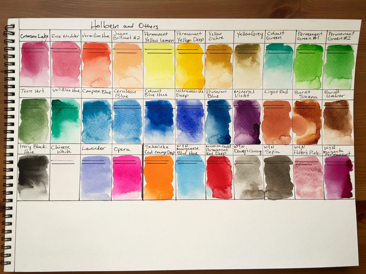 Holbein Watercolor 24 tube watercolor swatches