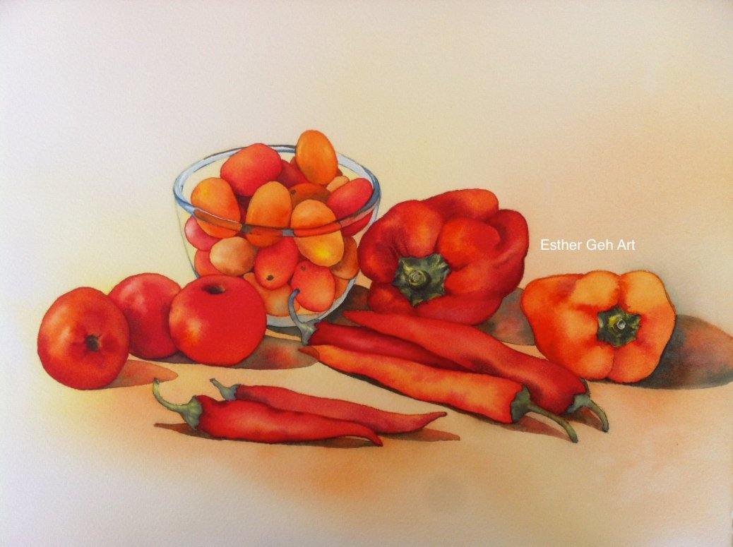Doodlewash and watercolor painting by Esther Geh of red peppers and tomatoes