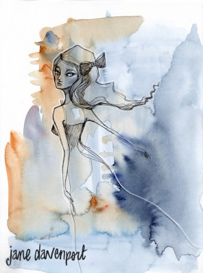 Doodlewash and watercolor by Jane Davenport of woman limited tones