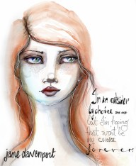 Doodlewash and watercolor by Jane Davenport of woman's face with words