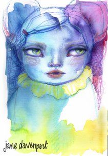Doodlewash and watercolor by Jane Davenport of face in blue purple