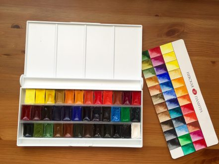 White Nights Watercolour 36 palette set with swatch card