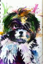 Doodlewash - Watercolor by Charu Jain of Dog