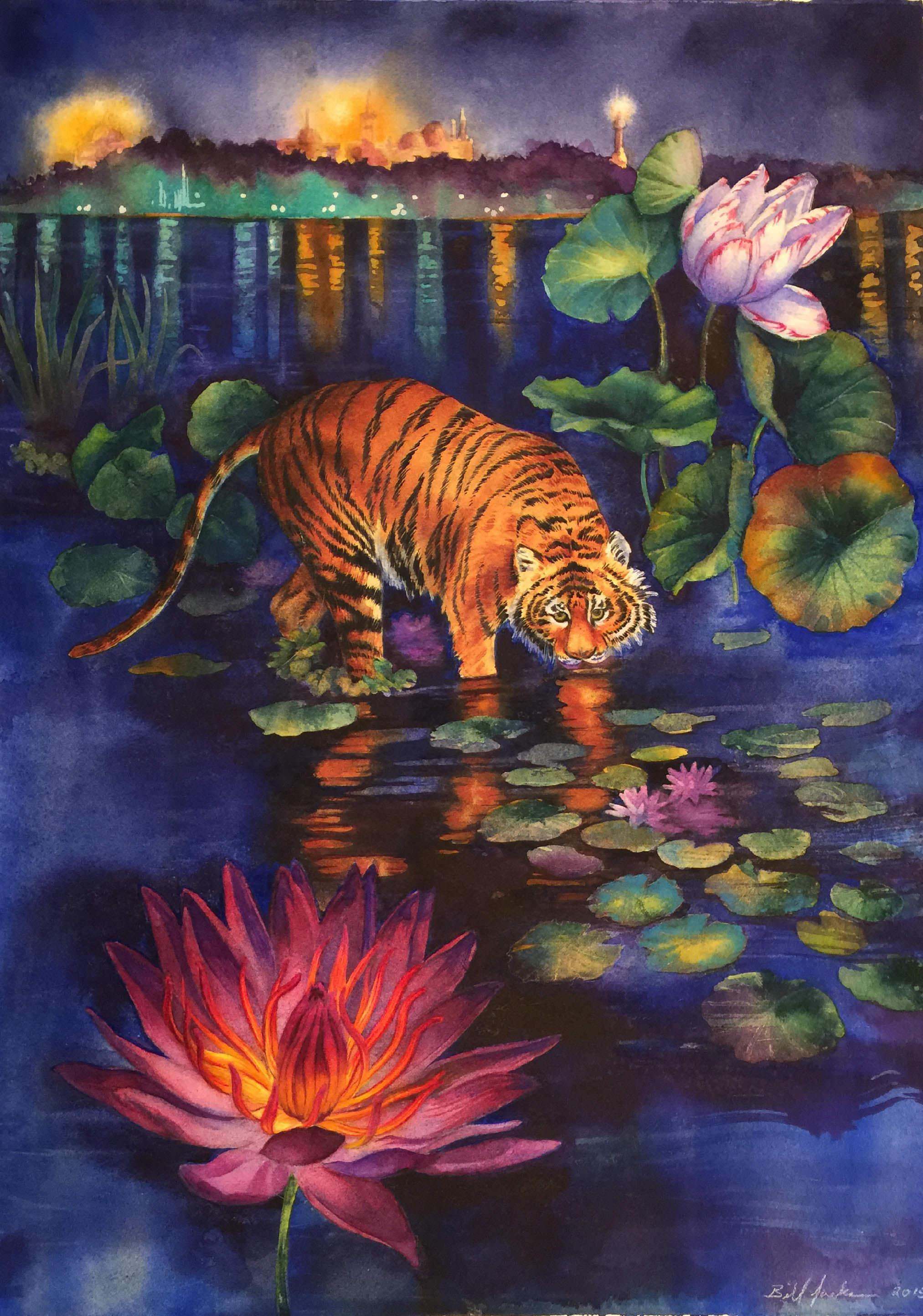 Connecticut watercolor artists directory - Doodlewash Watercolor By Bill Jackson Of Bosphorus Tiger