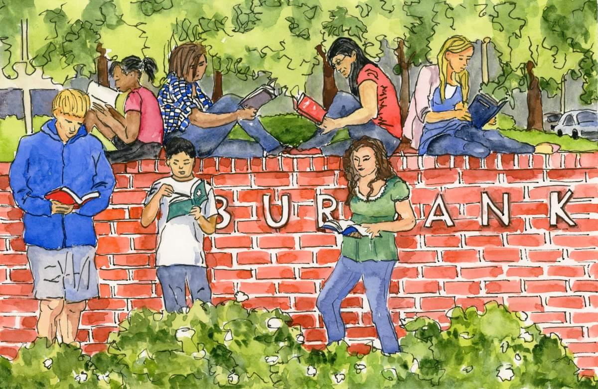 Doodlewash and watercolor sketch by Meliessa Garrison Elliott of Teen Book Meetup in Burbank