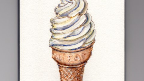 Doodlewash - My Favorite Dessert Vanilla Soft Serve Ice Cream Cone