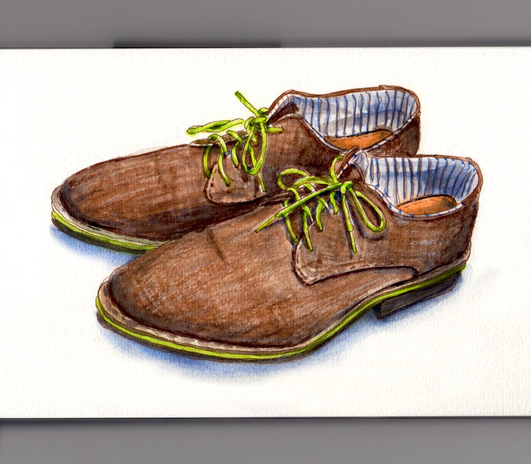 Day 15 #WorldWatercolorGroup My Favorite Article of Clothing Cloth Shoes with Green Laces