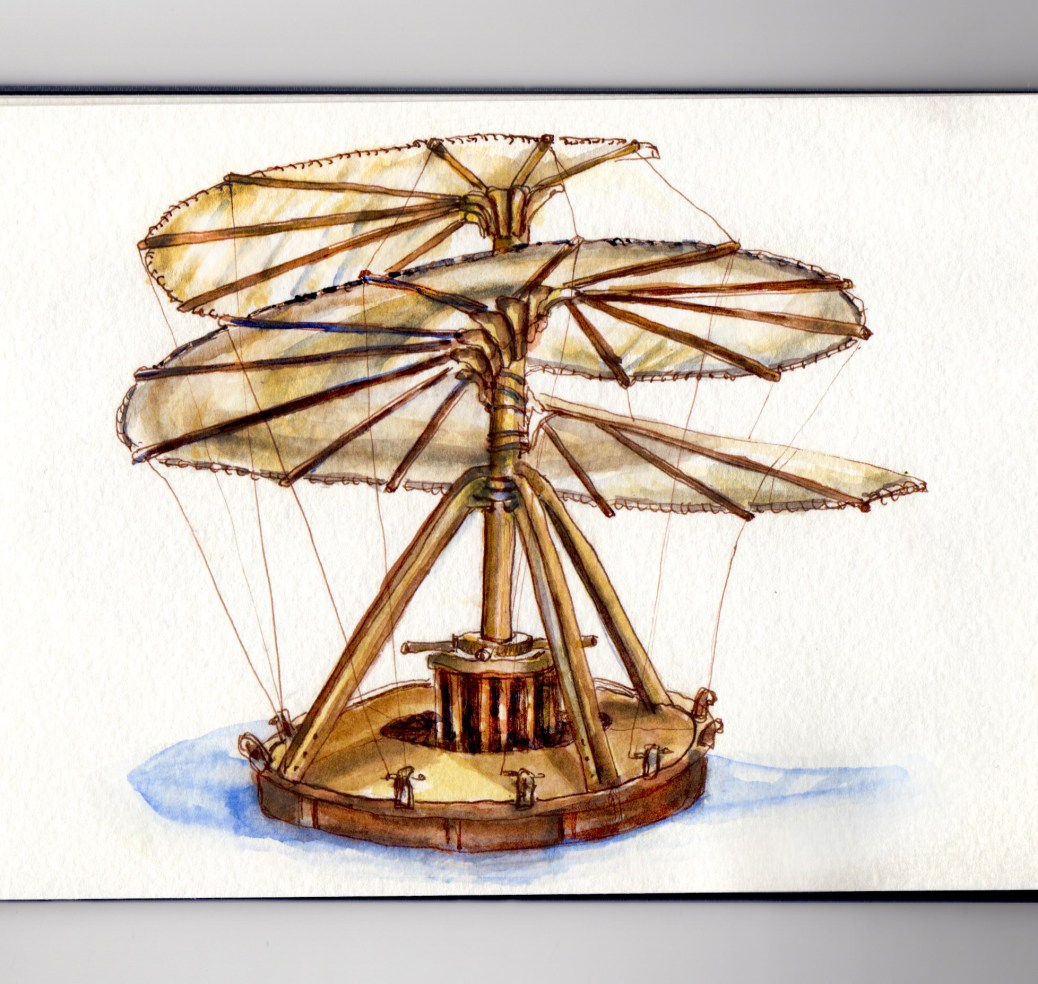 Day 17 #WorldWatercolorGroup My Favorite Person Leonardo da Vinci Aerial Screw