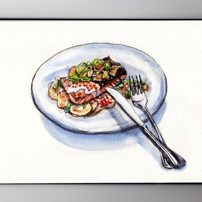 My Favorite Restaurant Novel Kansas City Salmon on plate knife and fork #WorldWatercolorGroup