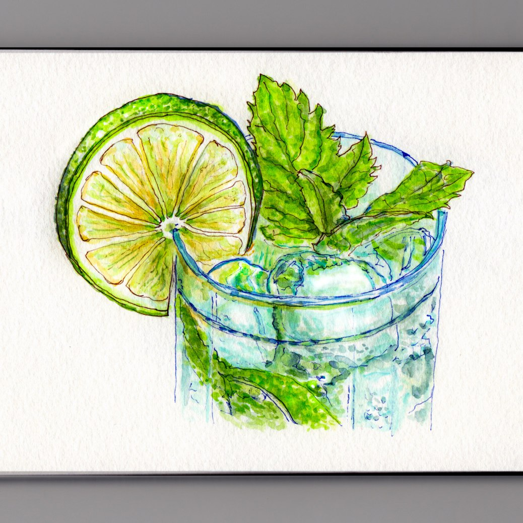 My Favorite Colors - #WorldWatercolorMonth Lime Cocktail With Mint Leaves in Glass