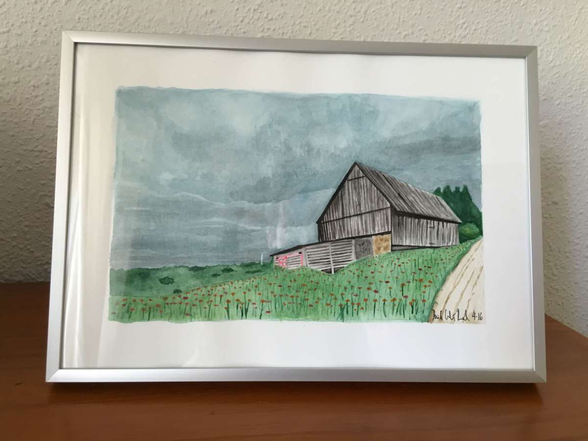Doodlewash and watercolor by David Calderón Real of barn