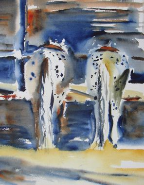Doodlewash - Watercolor painting by Diane Wallace of horses in stable