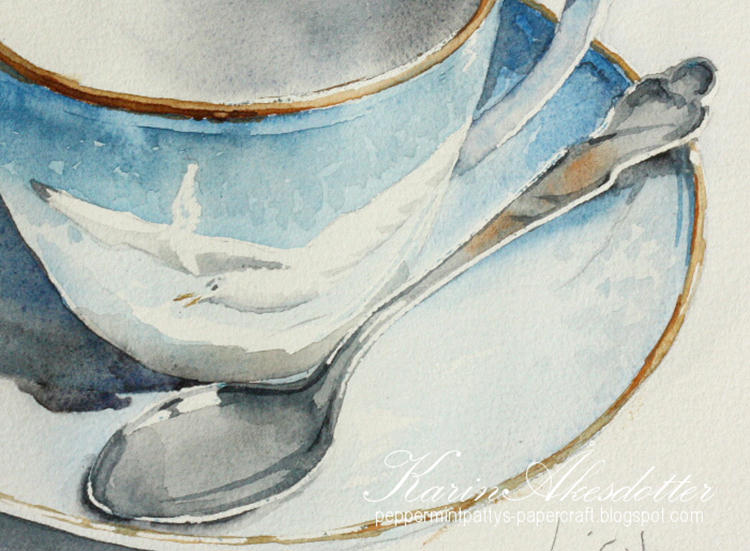 Doodlewash - watercolor painting by Karin Åkesdotter of cup saucer and spoon