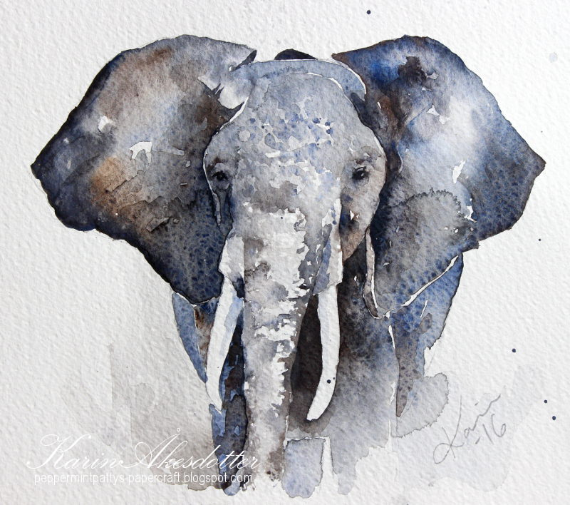 Doodlewash - watercolor painting by Karin Åkesdotter of elephant