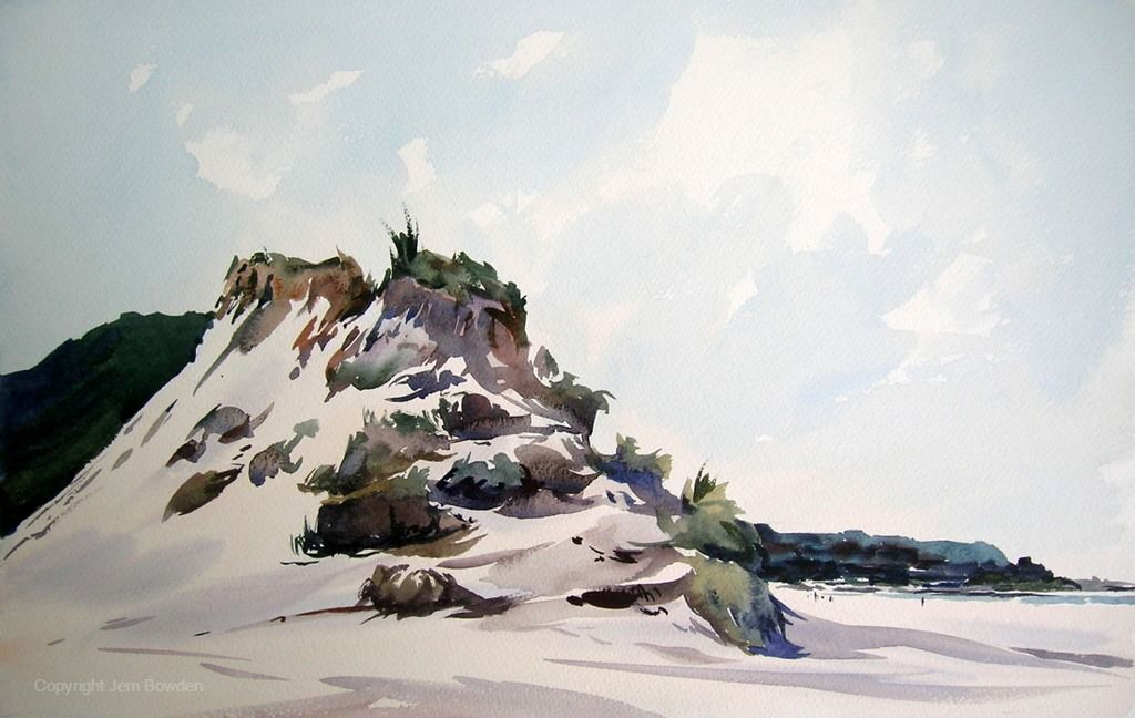 Doodlewash - Plein Air Watercolor Painting by Jem Bowden of sandy beach