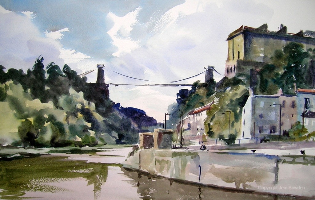 Doodlewash - Plein Air Watercolor Painting by Jem Bowden of water and buildings