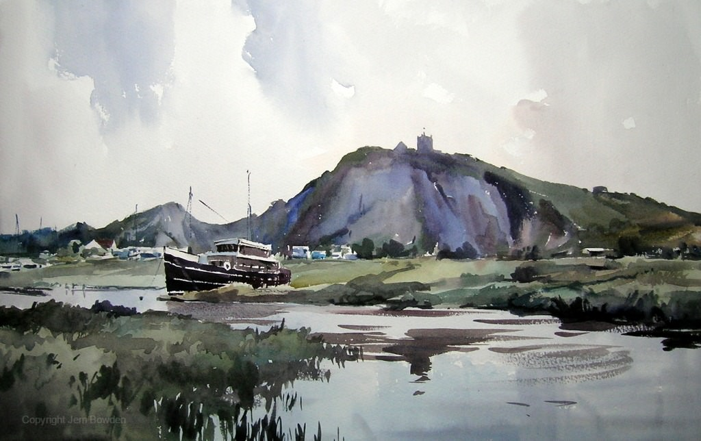 Doodlewash - Studio Watercolor Painting by Jem Bowden of boat and water