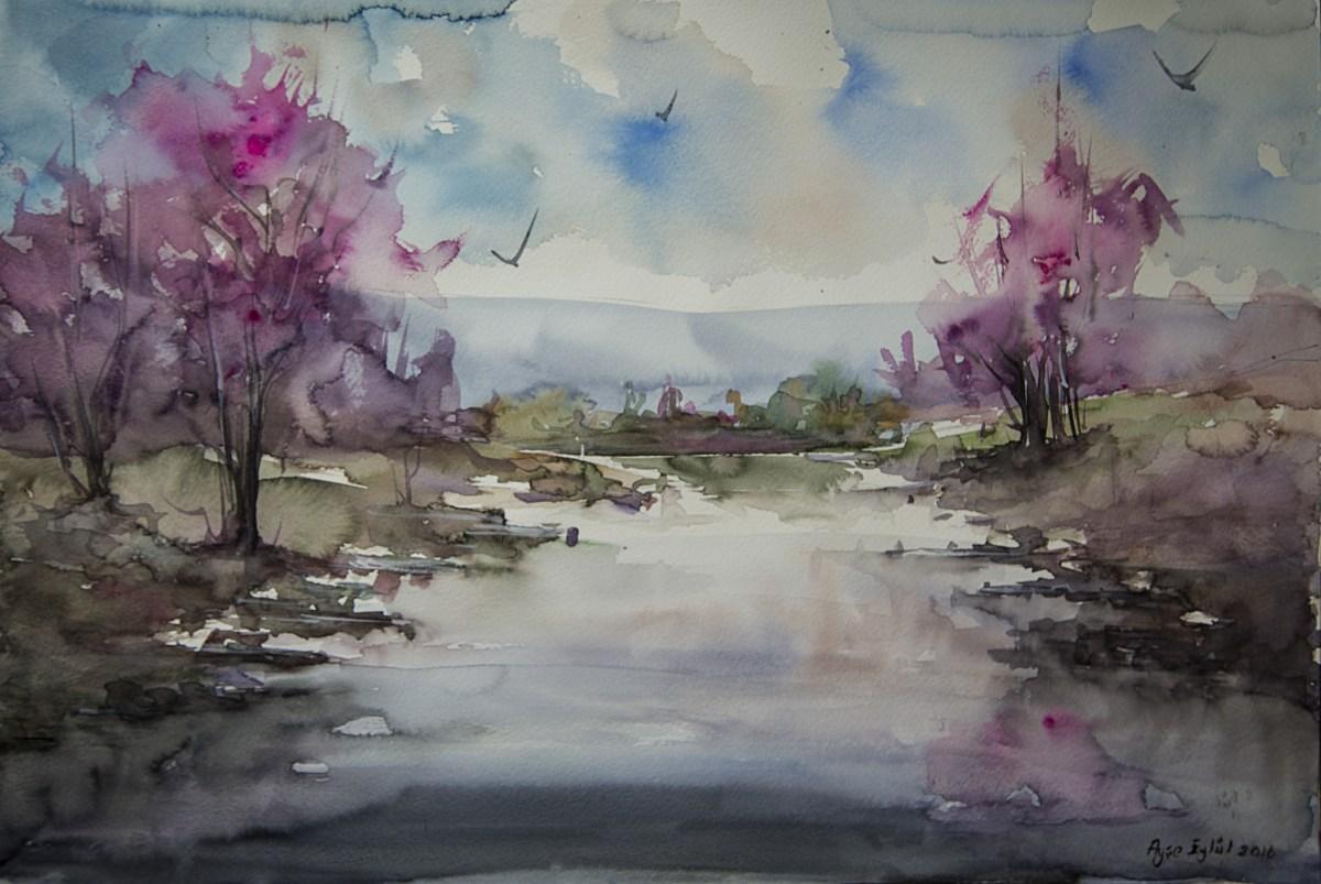 #Doodlewash - watercolor painting by Ayşe Eylül Sönmez of landscape #WorldWatercolorGroup