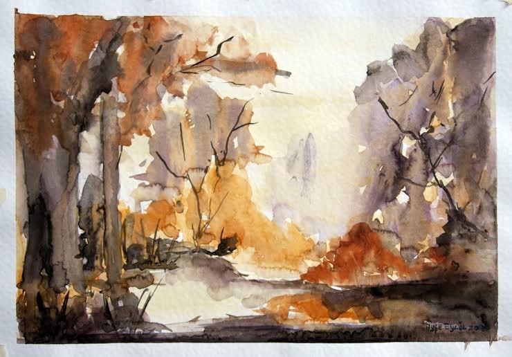 #Doodlewash - watercolor painting by Ayşe Eylül Sönmez of September landscape #WorldWatercolorGroup