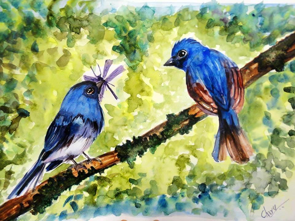 Doodlewash - Watercolor by Charu Jain of bluebirds