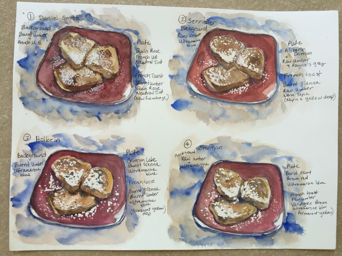 french toast watercolor paintings by Yukari Bromfield