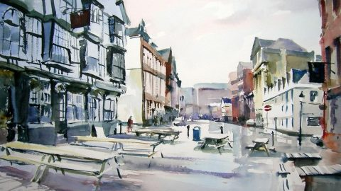 Doodlewash - Studio Watercolor Painting by Jem Bowden of King Street in the morning