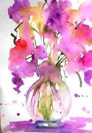 Doodlewash - Watercolor by Charu Jain of flowers in vase