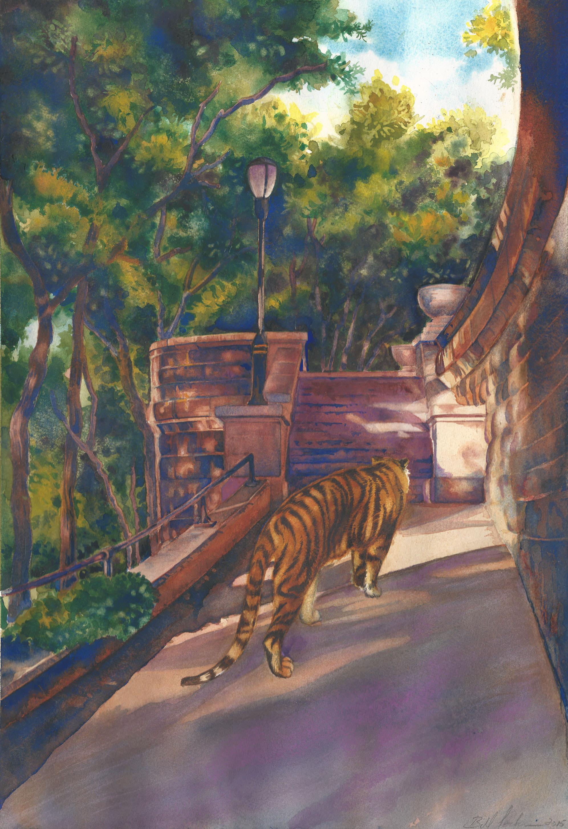 Connecticut watercolor artists directory - Doodlewash Watercolor By Bill Jackson Of Riverside Drive Tiger