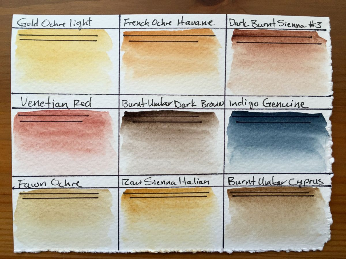 Redwood Willow watercolor swatches on Fabriano paper