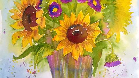 #Doodlewash - Watercolor by Lindsay Weirich of sunflowers #WorldWatercolorGroup