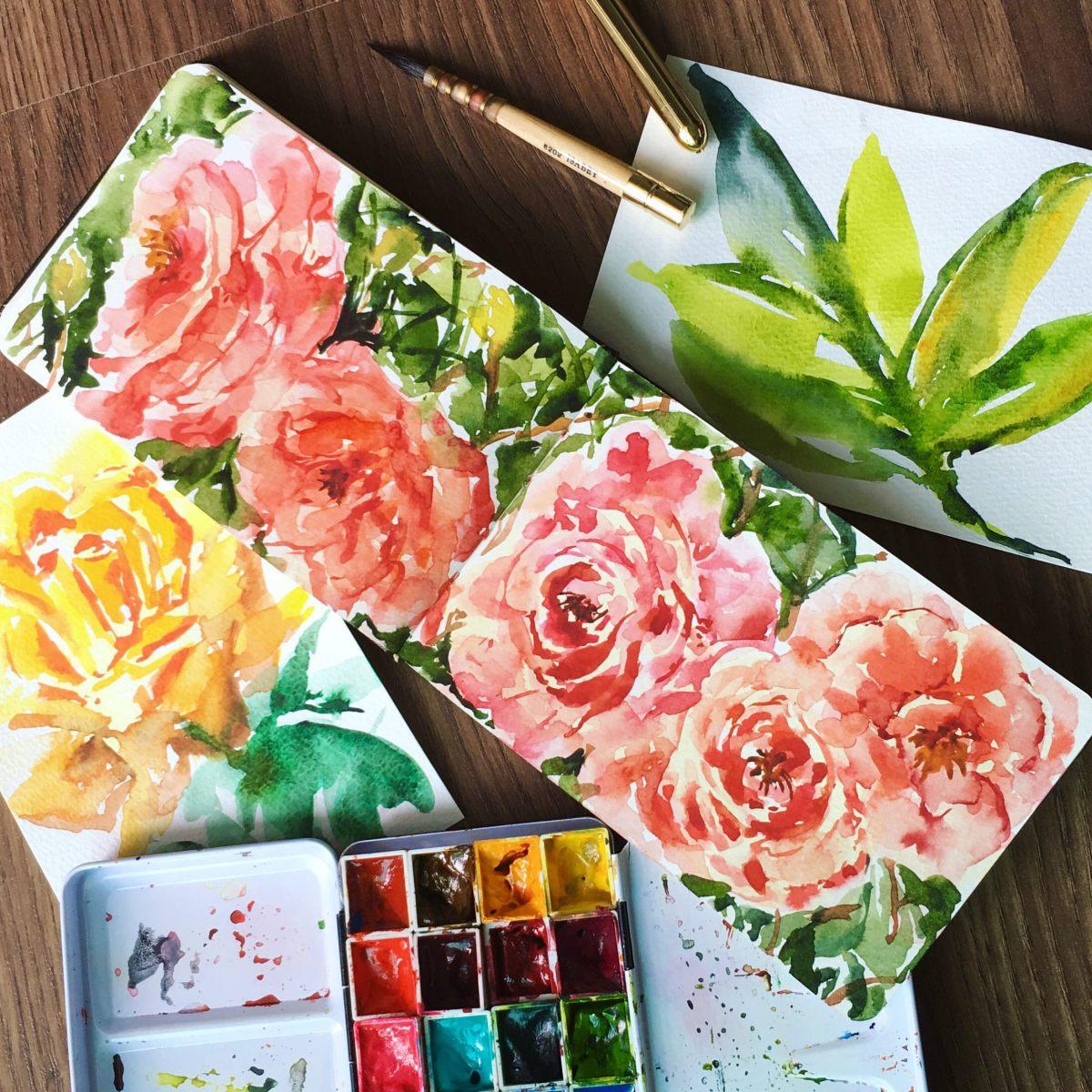 #Doodlewash - #Watercolor by Sarah Ongsun - roses - #WorldWatercolorGroup